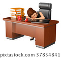 3D Business woman sleeping in her office 37854841