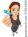 3D Business woman with pacifier. Work life balance 37854845
