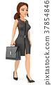 3D Business woman walking with a briefcase 37854846