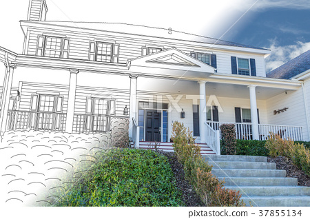 Beautiful Custom House Drawing and Photo Combination on a White 37855134