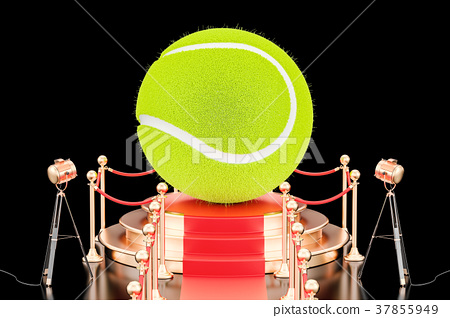 Podium with tennis ball, 3D rendering 37855949