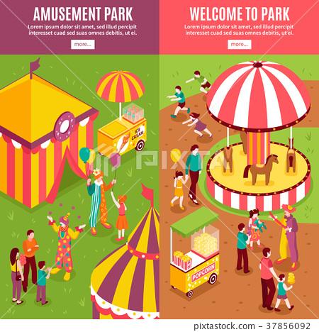 Isometric Amusement Park Banners 37856092