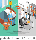 Online Medical Diagnosis Isometric Banners  37856134