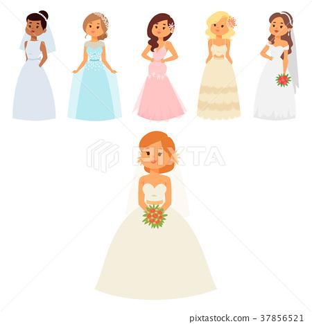 Wedding brides characters vector illustration 37856521