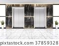 modern steel elevator lift lobby in business hotel 37859328