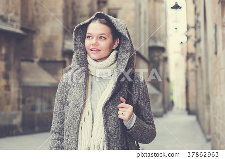 portrait of young female in hood 37862963