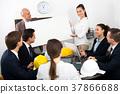 Businessman presents new development plan at poster 37866688