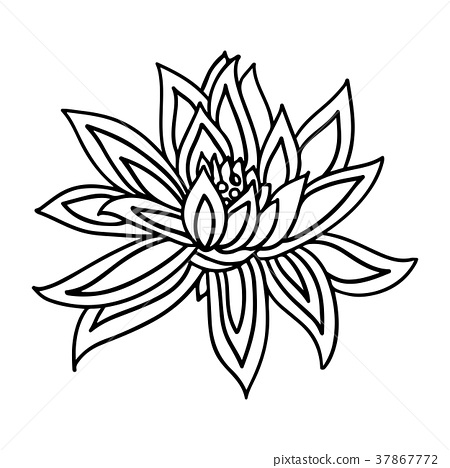 Lotus Flower Icon On White Background Yoga Symbol Stock