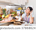 Adult woman is sitting with check and is sading because of the prices of food 37868624
