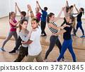 Teenagers dancing of partner dance in studio 37870845