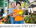 Adult man and his wife are choosing ripe melon 37871477