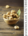 Sweet dried italian figs on the wooden table 37873860