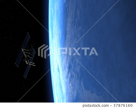 High-quality earth and ISS (Space Station) 3DCG perming3DCG illustrations material 37876160