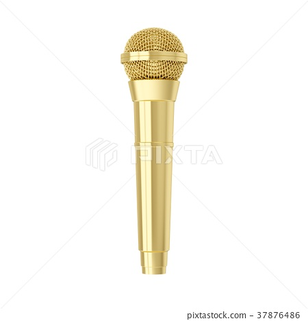 3d rendering golden microphone isolated 37876486