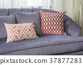 Red pillows lay on violet sofa in living room 37877283