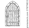 Cartoon Vector Drawing of Wooden Medieval Door 37879833