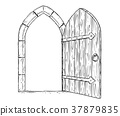 Cartoon Vector Drawing of Open Wooden Medieval 37879835