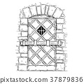Cartoon Vector Drawing of Wooden Medieval Door 37879836