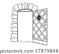Cartoon Vector Drawing of Open Wooden Medieval 37879848