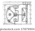 Cartoon Vector Drawing of Closed Vault Door 37879904