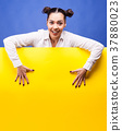 Woman next to a yellow board poster 37880023