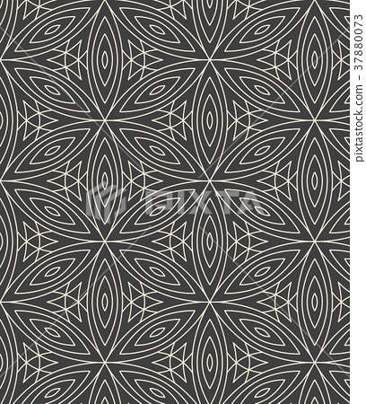 Minimalistic repeating linear flower pattern 37880073