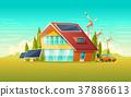 Vector green house, electric car renewable energy 37886613