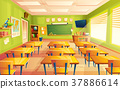 Vector cartoon empty school, college classroom 37886614