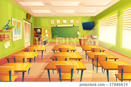 Vector cartoon empty school, college classroom 37886614