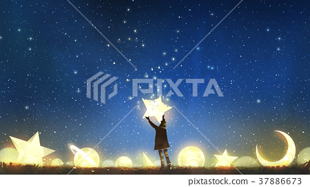 boy holding the star up in the sky 37886673