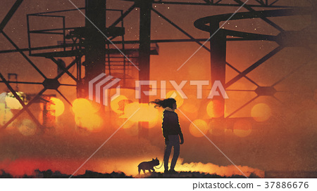 man and dog standing against the buildings 37886676