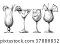 Set of different glasses, different cocktails. 37886832