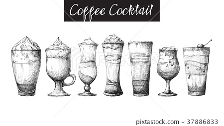 Set of different glasses, coffee cocktails 37886833