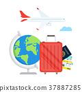 map,passport,airplane 37887285
