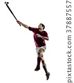 field hockey player man isolated silhouette white 37887557