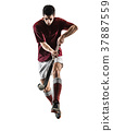 field hockey player man isolated silhouette white 37887559