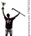 field hockey player man isolated silhouette white 37887563