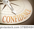 3d compass with needle pointing the word confidence 37889484