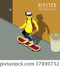 hipster skateboarding 37890732