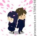 벚꽃, 교복, 봄 37896248