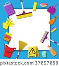 Bottle of detergent sponge soap and rubber gloves 37897899