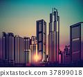 city, sunset, vector 37899018