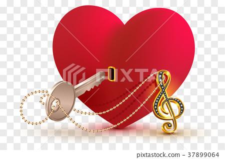 Musical treble clef key open love heart lock shape 37899064