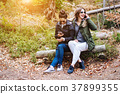 two beautiful girls sat down in the forest 37899355