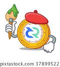 Artist Decred coin character cartoon 37899522