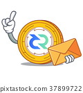 With envelope Decred coin character cartoon 37899722