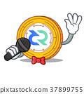Singing Decred coin mascot cartoon 37899755