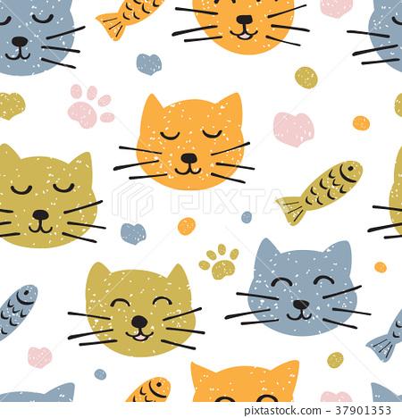 Childish seamless pattern with hand drawn cute 37901353