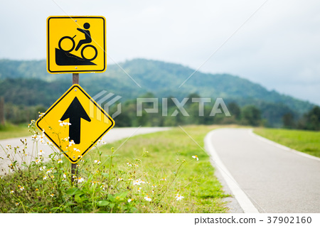 Warning bicycle road signs with bicycle lane 37902160