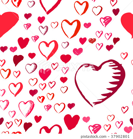 Drawn hearts seamless pattern for Valentines Day 37902801